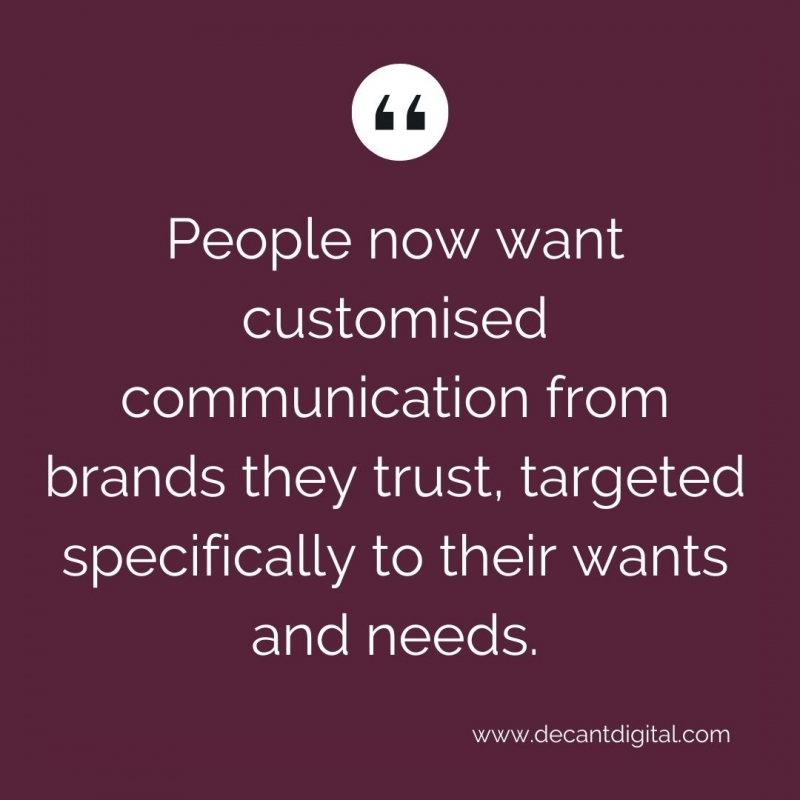 People Want customised communication - quote